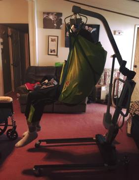 The Crane Mom uses to get Dad in and out of bed since his arms and legs are now paralyzed from the ALS.